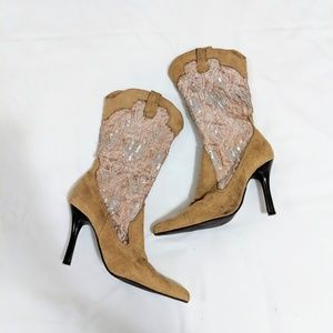 Shoes - Tan Suede Sequin Heeled Boots
